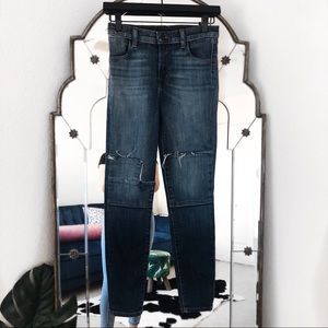 J brand dark wash skinny jeans patches high rise